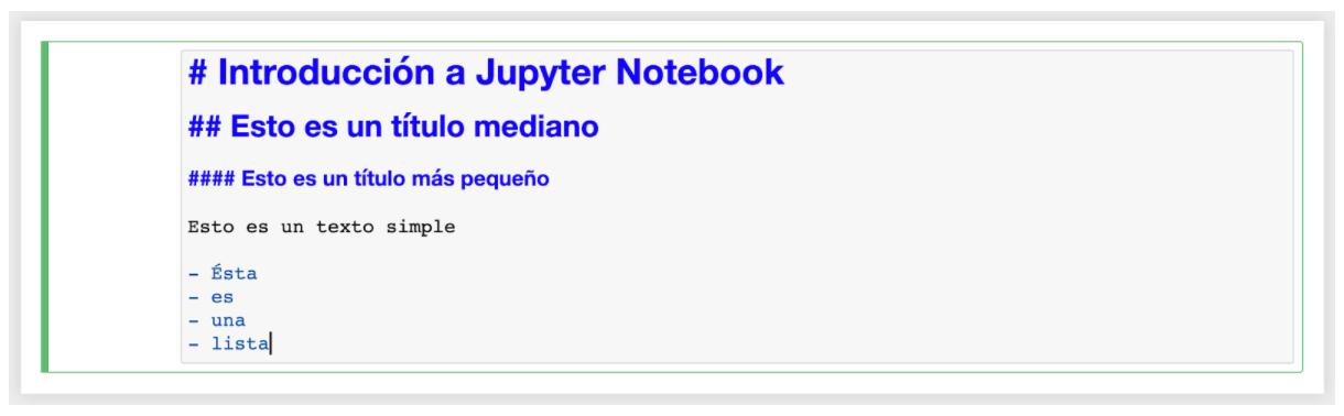 Celda de código Jupyter Notebook