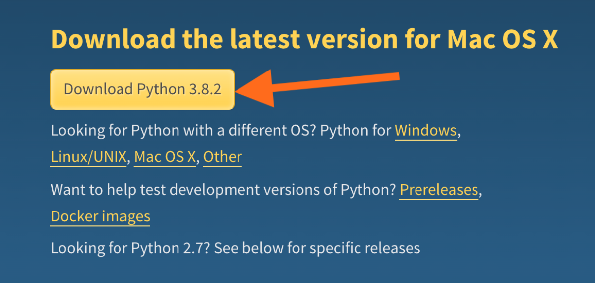 Imagen de vista de descarga de Python